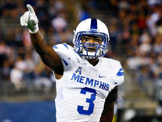 University of Memphis receiver Anthony Miller celebrates