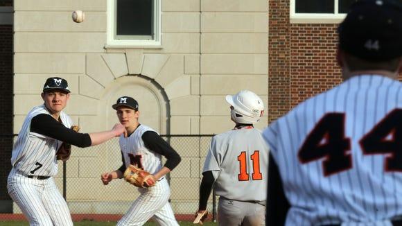 Mamaroneck's Max McLoughlin (7) throws to first base