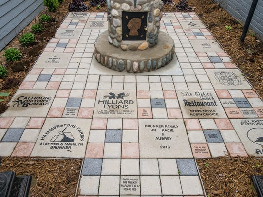 Engraved pavers signify donors to the museum renovation in Athens.