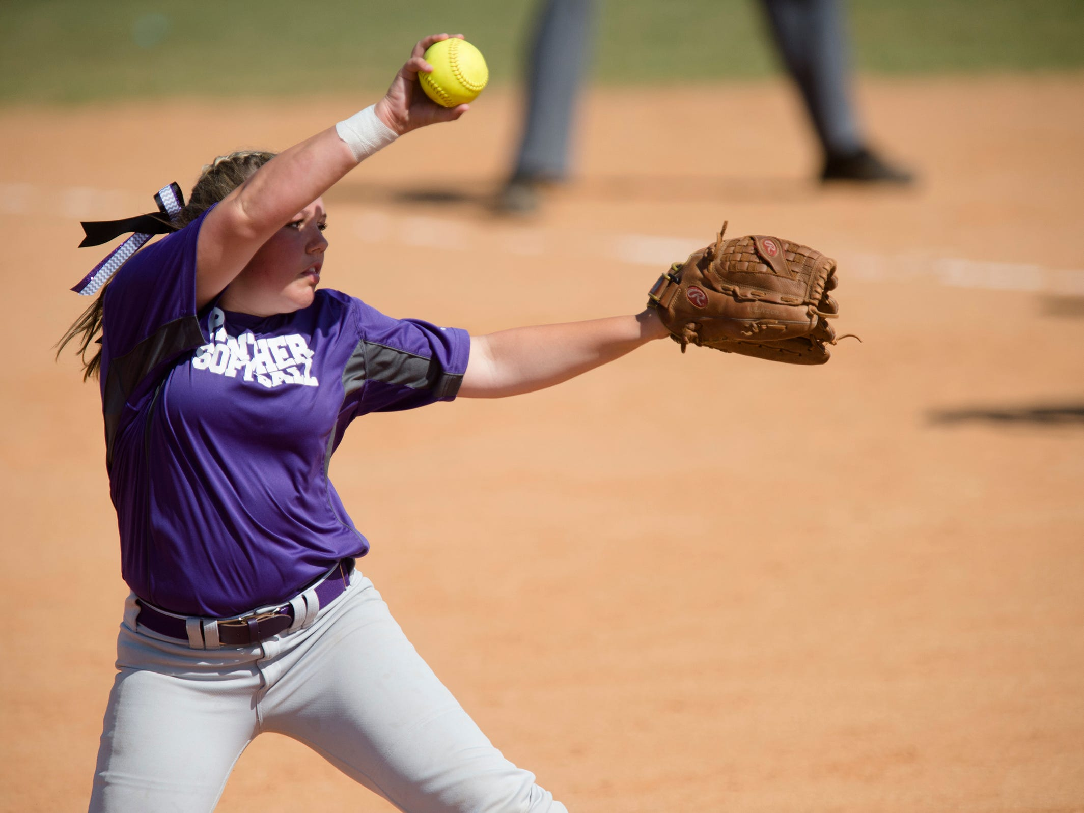 Prattville ChristianÕs Hayden Law (10) throws a pitch during the AHSAA Class 3A State Softball Tournament game against Winfield on Thursday, May 14, 2015, at Lagoon Park in Montgomery, Ala.