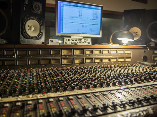 The mixing board at the Soundstage 1 recording studio