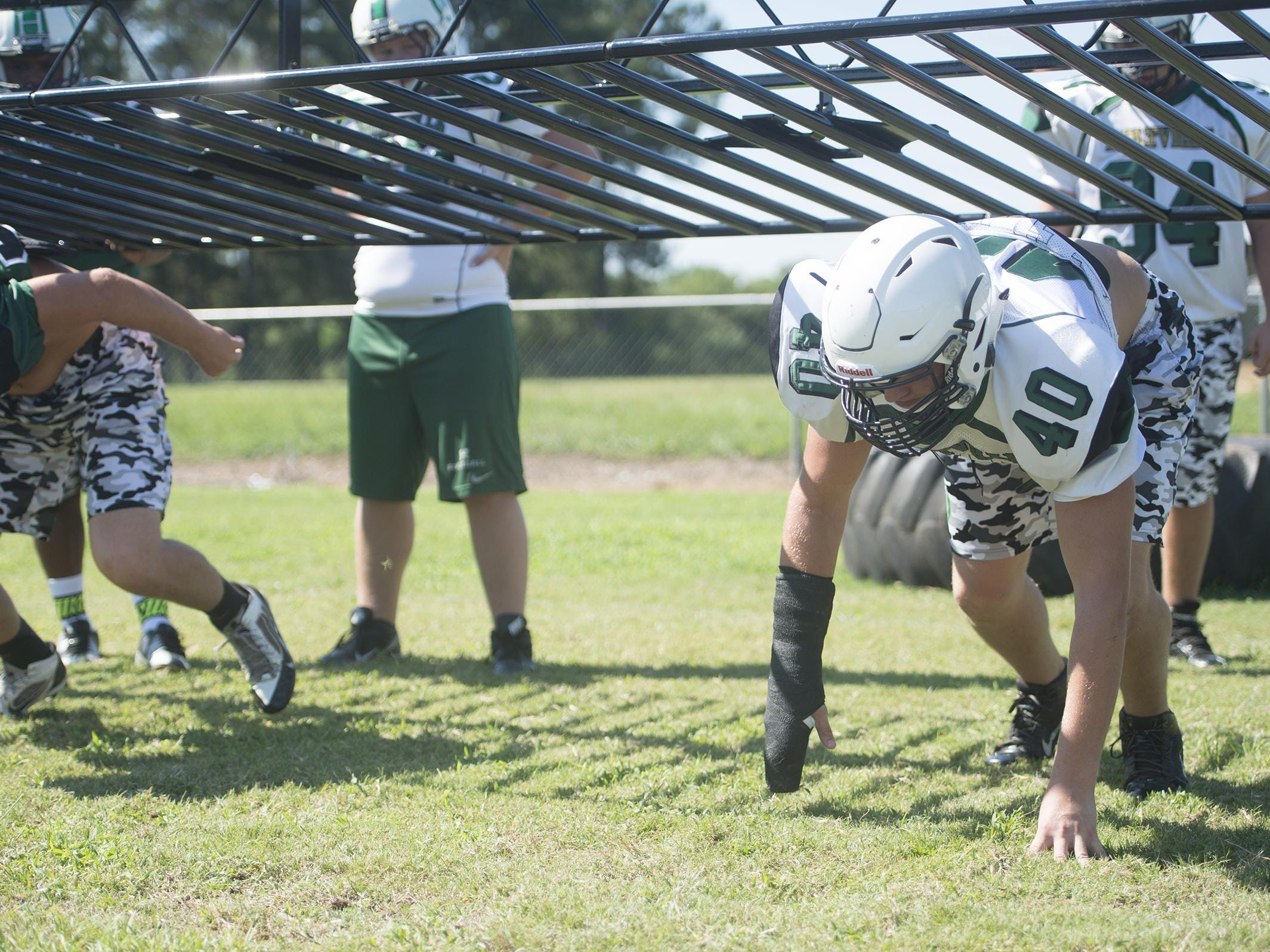 Holtville defensive end Jacob Nowak prepares to run a drill.