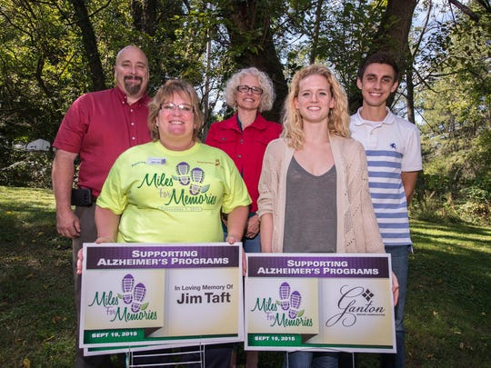 Members of the Miles for Memories organizing committee are, front row from left, Anne Clark and Christyn McCleary and back row, from left, Steve Frisbie, Sherii Sherban and Zachary Ganton