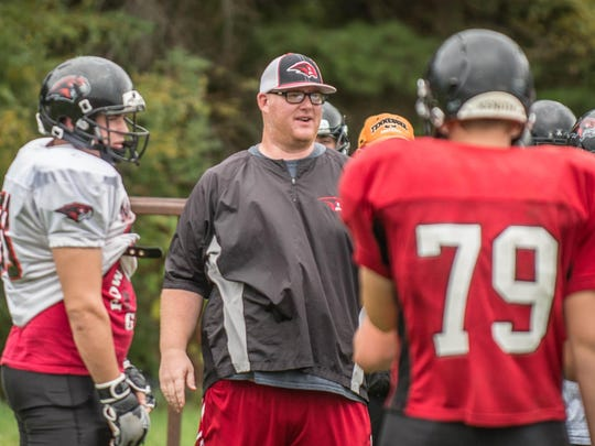 Marshall's head coach Jason Stealy during a recent practice.