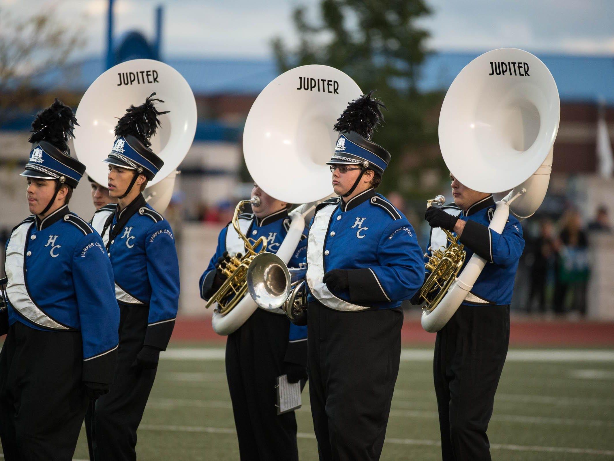 Harper Creek's marching band members before game.