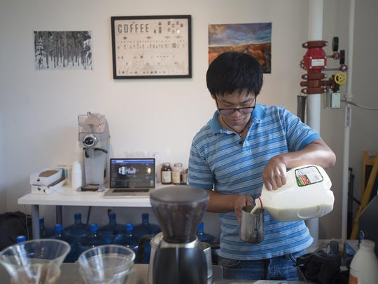 Jason Mundie, a barista with Prevail Union coffee out