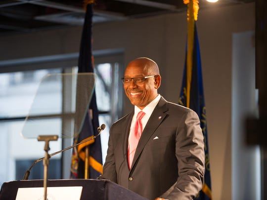Deputy Mayor Cedric L. Alexander smiles during opening remarks at Mayor Lovely A. Warren's State of the City Address in this file photo.