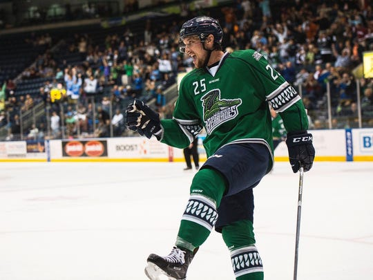 Florida Everblades John McCarron celebrates a goal during game 6 of the Kelly Cup Playoffs at Germain Arena in Fort Myers, Fla., on Tuesday, April 25, 2017.