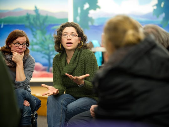 Emma Mulvaney-Stanak, chair of the Vermont Progressive Party, wants to reach out to more of her generation and harness their energy to political causes. She's shown her talking to the Burlington Progressive Party Caucus in 2012.