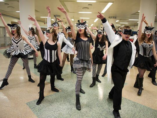 """2015 Tony Awards First Annual Excellence in Theater Education Award Nominee Judith Ranaletta of Brigton, rehearses """"Masquerade"""" with the ROC City Singers, a group of area high school students."""