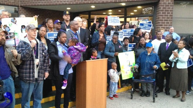 Child care advocates, parents and community members rallied for child care funding in Mount Vernon in October 2013 in advance of the 2014 Westchester budget approval. Elizabeth Ganga/The Journal News