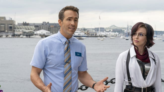 """Ryan Reynolds and Jodie Comer in the shot-in-Boston film """"Free Guy."""""""