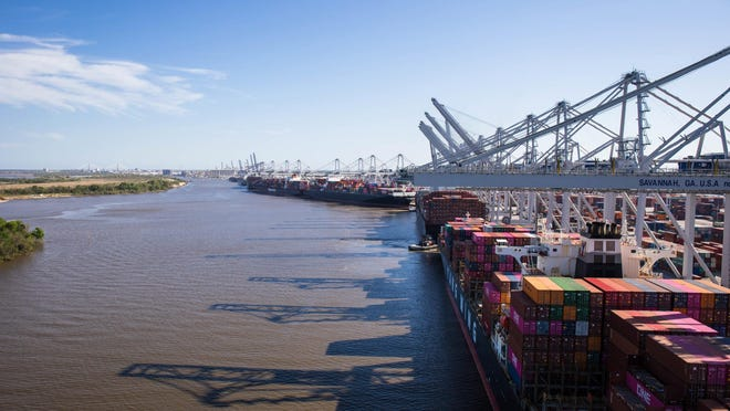 Shipping volumes at the Port of Savannah's Garden City Terminal dropped 9.7% in May as a result of COVID-19 impacts, with 337,359 twenty-foot equivalent container units moving during the month.