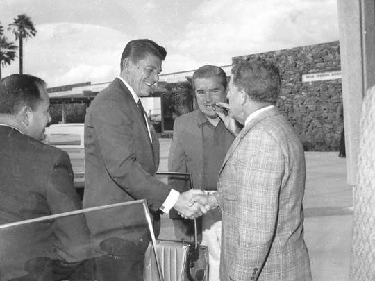 Ronald Reagan, Ed McCoubrey, and Phil Reagan at what is now Palm Springs International Airport.