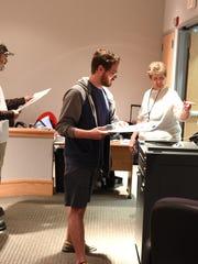 Andrew Glatz votes at South Lyon' city hall a bit after 2 p.m.