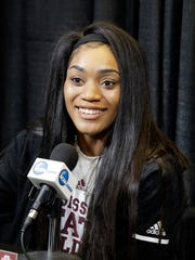 Mississippi State's Victoria Vivians responds to a question during a news conference for the women's NCAA Final Four college basketball tournament, Saturday, March 31, 2018, in Columbus, Ohio. Mississippi State will play Notre Dame on Sunday in the national championship. (AP Photo/Ron Schwane)