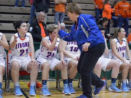 Livonia head coach Karen Schuster had 385 career wins entering the 2016 Class B Federation Tournament of Champions in Albany.