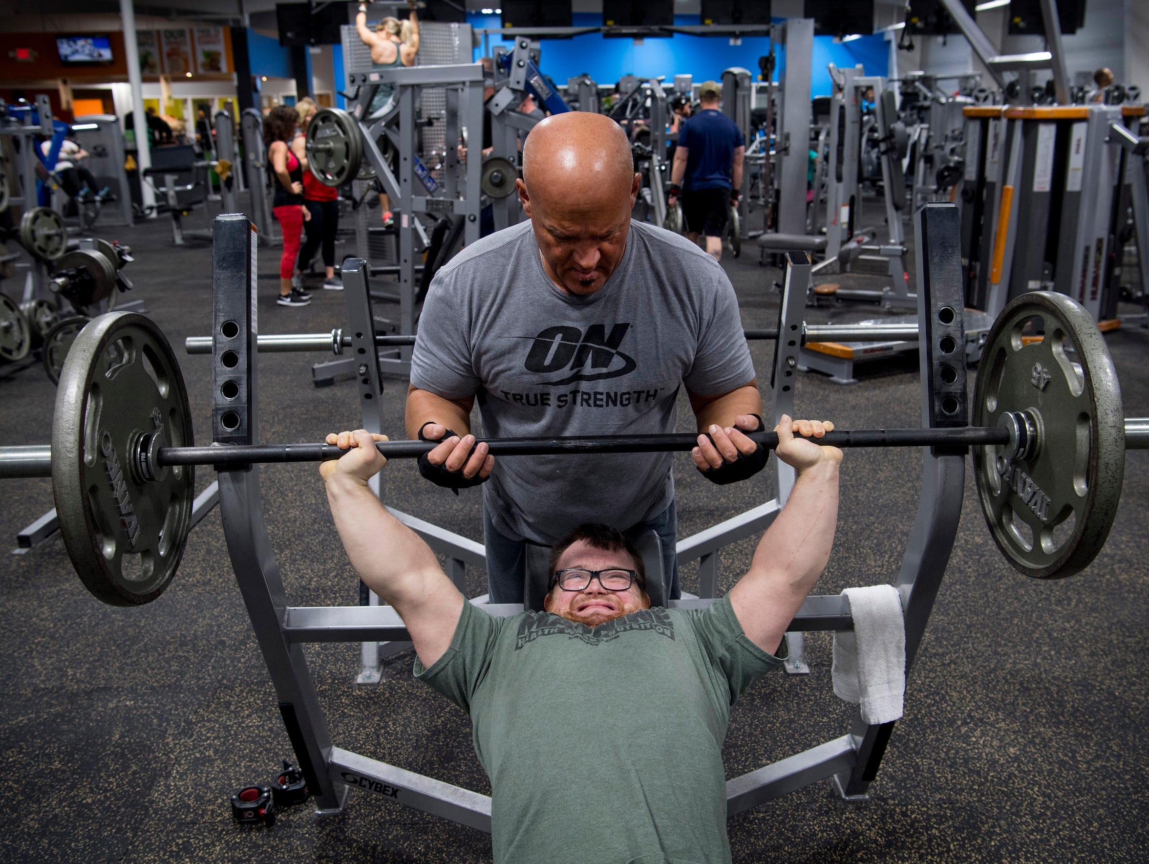 Coach, friend and training partner Jeff Kosor spots