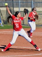 Albany's Reyna Garcia throws a pitch during 5-0 win