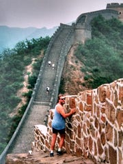 Mike Culver runs on the Great Wall of China.