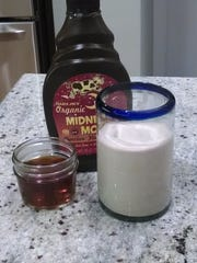 Ingredients for homemade Jamocha Shakes: Just vanilla ice cream, coffee, and chocolate syrup.
