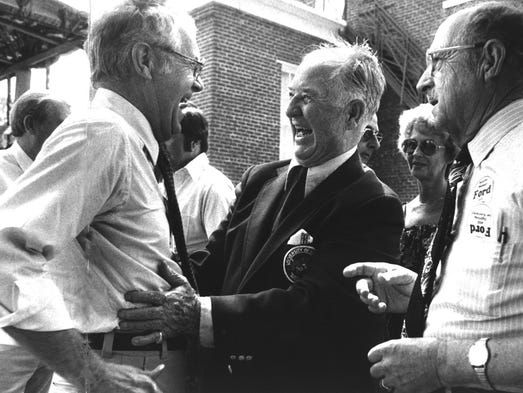 U.S. Sen. Wendell Ford, left, laughed with former Gov. A.B. ``Happy'' Chandler, center, in 1980 at the 100th Fancy Farm Picnic. The event began to draw more statewide and national politicians in the early to mid-1970s.- -Text 8/2/1980 Melissa Farlow photoFormer Gov. A.B. Happy Chandler laughed with U.S. Sen. Wendell Ford, left, at the 100th annual Fancy Farm political barbecue in Graves County.