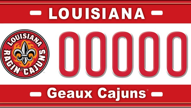 "The new plate features the University's athletics logo against a white field trimmed in red at the top and at the bottom. The word ""Louisiana"" is across the top of the license plate. ""Geaux Cajuns"" is across the bottom."