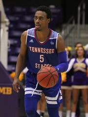 Tennessee State guard Tahjere McCall leads the Tigers