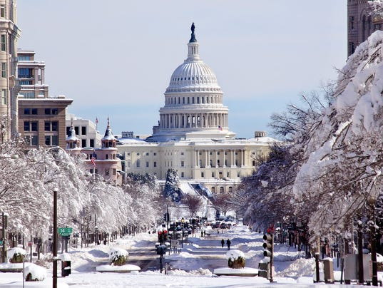 US Capital Pennsylvania Avenue After the Snow Washington DC