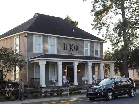 This Nov. 3, 2017, photo shows the Pi Kappa Phi fraternity