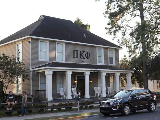 This Nov. 3, 2017, photo shows the Pi Kappa Phi fraternity