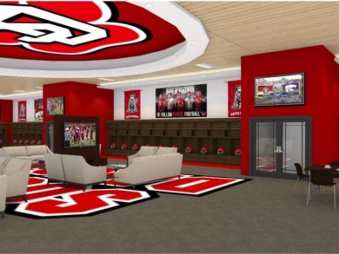 Rendering of the locker room