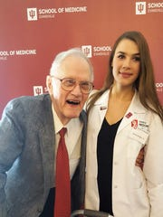 Scholarship Luncheon - Dr. Raymond Newnum, a retired Assistant Professor of Medicine and former Assistant Dean of the Evansville Center, poses with second year student, Serena Wright. Serena is the inaugural recipient of the Raymond and Betty Newnum scholarship. Over $220,000 in scholarships were awarded at the annual IU School of Medicine - Evansville scholarship and awards banquet last week at the Evansville Country Club.
