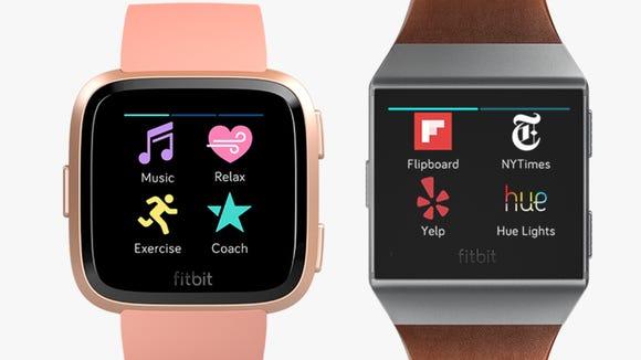 The Fitbit Versa, left, and Ionic smartwatcherecens.