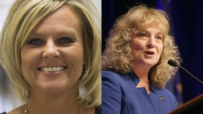 Jennifer McCormick (left) and Glenda Ritz are facing off in the race for Indiana superintendent of public instruction.