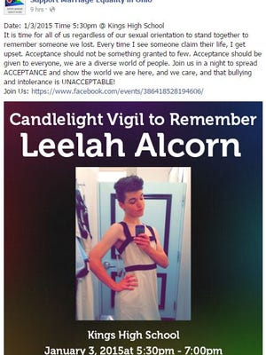 A post on Marriage Equality Ohio's Facebook page shows that a vigil is planned for dead transgender teen Leelah Alcorn.