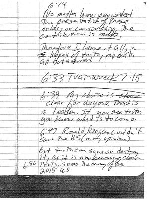 The final page of the Lafayette theater shooter's journal details the fateful night's events.