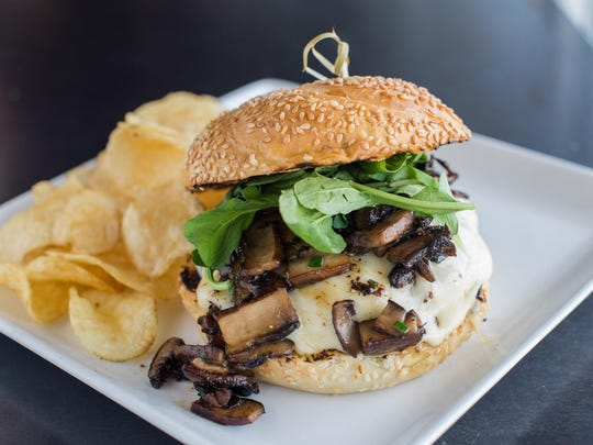 The Truffle Mushroom burger, a beef patty, havarti