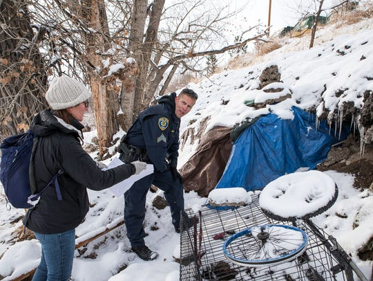 Reno Police Sgt. Wade Clark and volunteers make contact
