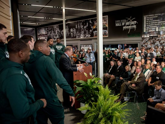 Michigan State men's basketball coach Tom Izzo speaks during the Gilbert Pavilion and Tom Izzo Hall of History dedication on Friday, Oct. 20, 2017, at the Breslin Center in East Lansing.