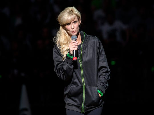 Michigan State women's basketball coach Suzy Merchant addresses the crowd during the annual Midnight Madness event on Friday, Oct. 20, 2017, at the Breslin Center in East Lansing.
