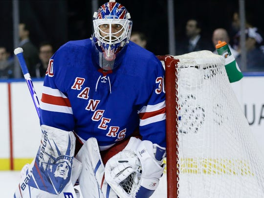 New York Rangers goaltender Henrik Lundqvist (30) protects his net during the first period of an NHL hockey game against the Dallas Stars Monday, Feb. 3, 2020, in New York. (AP Photo/Frank Franklin II)