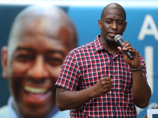 Gubernatorial candidate Andrew Gillum speaks to supporters