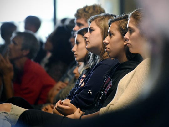 St. John's Prep students concentrate Thursday as Pope