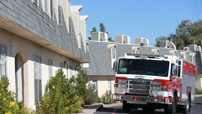 An El Paso Fire Department pumper truck was parked near the apartment which caught fire early Monday.