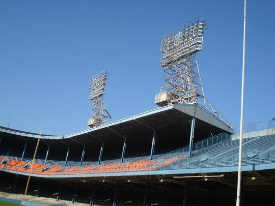 The left field roof of Tiger Stadium in Detroit, over which Cecil Fielder clobbered a monstrous home run, as seen on Oct. 30, 2007.