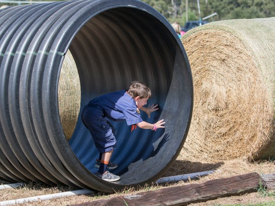 Lucas Muncy, 6, of Milton, braces for impact as his Rat Racer is about to hit the bale of hay a the end of the track during the Sweet Season Farm's Ninth annual Corn Maze and Fall Fun Festival in Milton on Oct. 14, 2017. This is the last weekend area corn maze's will be open.