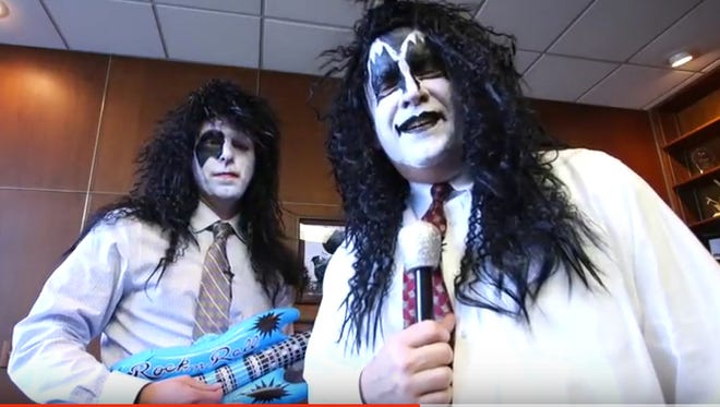 Keith Boaz (left), executive director for John Q. Hammons Arena, and Clif Smart, Missouri State University president, announced in full makeup that KISS will be playing JQH Arena in Springfield, Mo. on July 23, 2016.