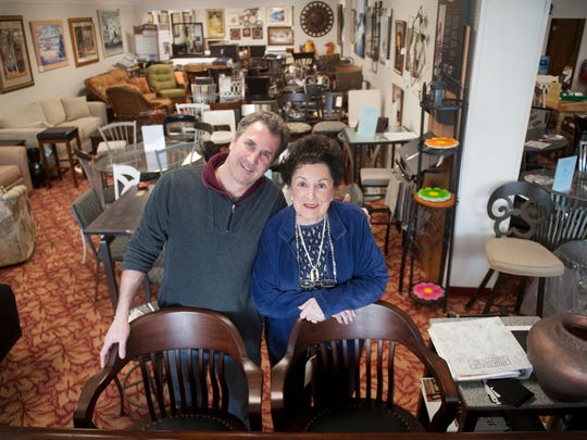 Stuart Weiss and his mother Rose Weiss, co-owners of Viking Furniture, stand in a showroom of their store in Maple Shade. 01.27.15