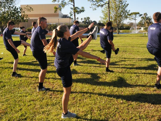 Police recruits train outdoors at Eastern Florida State College's Public Safety Institute in Melbourne.